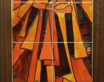 c. 1950s Orange Modern Tiles of Stylized Woman by Harris G. Strong