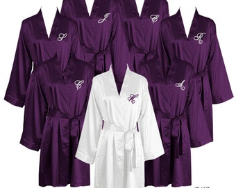 Set of 7 Knee Length Satin Robes Personalized with Single Initial, Bridal Party Robes