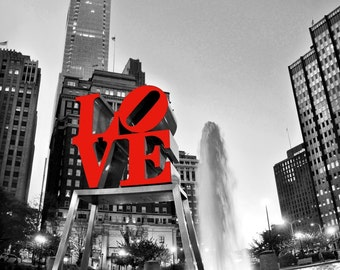 Philly Love Park with Comcast Building Giclee Canvas Art 14x12