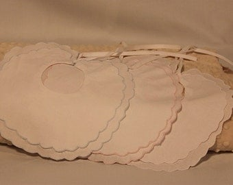 Blue, Pink, and White Scalloped Edge Bibs