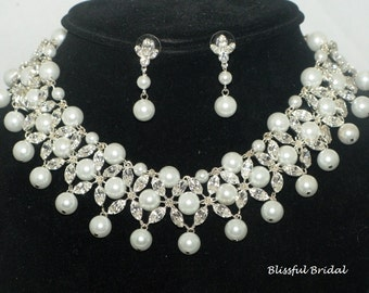 Pearl Crystal Wedding Jewelry Set, Wedding Necklace and Earring  Set, Bridal Necklace Set, Pearl  Jewelry Set,  Pearl Statement Necklace Set