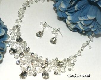 Wedding Necklace Set, Rhinestone Necklace Set, Wedding Necklace and Earring Set, Crystal Necklace Set, Wedding Jewelry Set, Bridal Jewelry