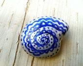 "Handpainted stone ""Silver Nautilus"" paperweight or sculpture, mandala, meditative, zen"