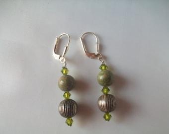 Jasper and Swarovski crystal earrings