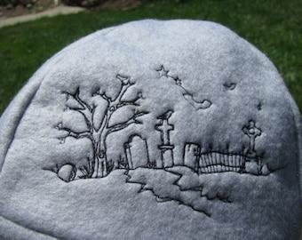 Spooky Graveyard Scene Gray and Black Fleece Ear Flap Hat