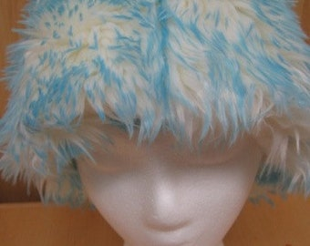 Long Elegant White Faux Fur with Blue Frosted tips Hat with Fleece Lining