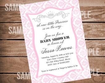 Pink Damask Princess Baby Shower Invitation