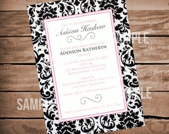 Damask Baby Shower Invitation with Black and Pink Accents