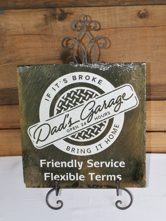 DAD's GARAGE - Dad's Shop - Dad Gift - Slate Sign - Diamond Plate - Garage Sign - Mechanic Sign