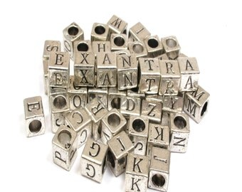 Metal Antique Alphabet Square Beads 6x6mm/10pcs