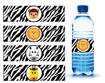 Instant Download - Printable - Jungle Safari Water Bottle Labels