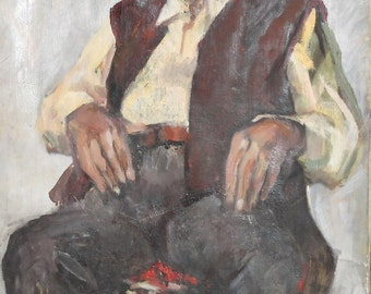 Vintage oil painting old man portrait