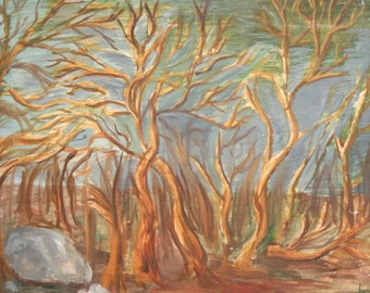 1986 Expressionist Oil Painting, Forest Landscape, Signed