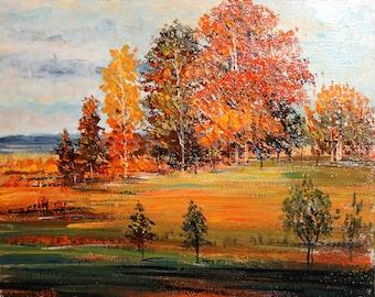 Vintageoil painting impressionist landscape trees signed