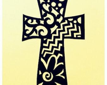 """Whimsy Cross, ORIGINAL ART Handmade Paper Cutting, Scherenschnitte, fits 5x7"""" frame"""
