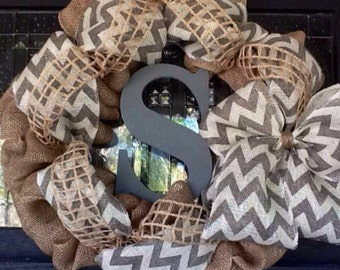 Mongrammed Wreath, Burlap Wreath, Spring Wreath, Summer Wreath, Year Around Wreath, Fall Wreath, Winter Wreath