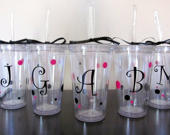 Personalized Tumblers with Initial and Polka Dots