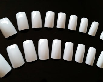 20 White Nails - Press on Nails - Glue on Nails - White Goth Nails - Medium Long Nails