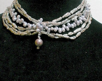 Shanghai Necklace Cafe Society Collection:   Soft Violet and Silver Pearls