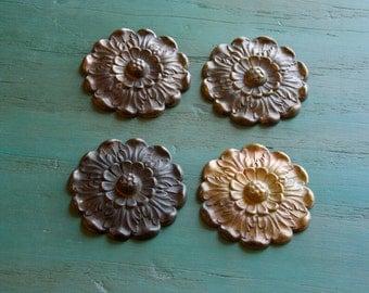 M 108 SET of 4 Antique Pressed Bronze Rosettes 50 plus years old