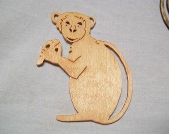 "3 1/4"" X 4"" Wooden Handmade Monkey Eating a Banana Ornament"