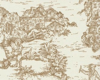 Pastoral Toile Suede  By The Yard