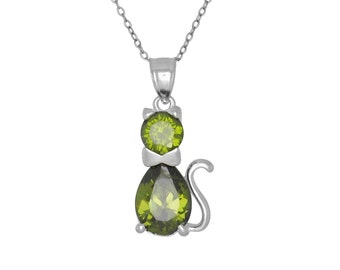 Sterling Silver .925 Cute Cat, Kitten with Birthstone August / Peridot, Cubic Zirconia Stone. Charm Pendant Necklace | Made in USA