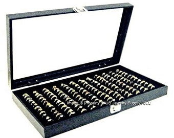 Key Lock Locking Glass Top 144 Ring Black Jewelry Sales, Display Box Storage Case