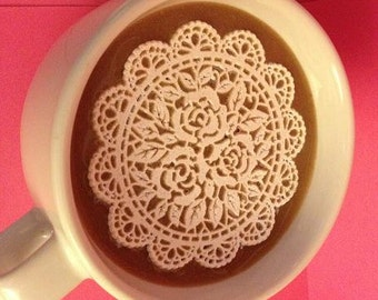 12/set Bulk Large White Rose Lover Lace  - Cupcake, Cake, Cookie, Petite Four, Coffee, Tea, or any Dessert
