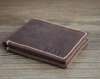 Personalized Men's Leather Wallet---Minimalist Leather Bifold Wallet Driving License Slot Groomsmen Gift Genuine Leather-R014P
