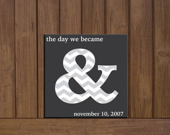 The day we became & with wedding date wooden sign