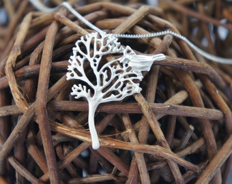 Silver Tree with Bird Necklace