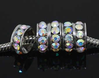 50PCS 10mm Antique silver Plated and AB Crystal Rhinestones Spacer Big Hole Beads loose beads Fit European Jewelry Findings