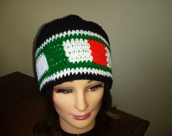 Crochet Mexico soccer adults hat.