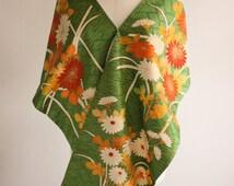 Green Kimono Shawl  Vintage Kimono Silk Orange and White Flowers Elegant Shawl