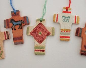 Southwest Clay Crosses, Set of 5 for Easter or Christmas Ornaments by Karlene Voepel