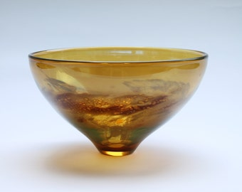 "Blown Glass Bowl, Iris gold Luster, 5""high x 8.75""wide"