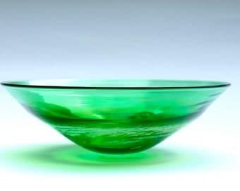 Blown Glass Bowl, Green