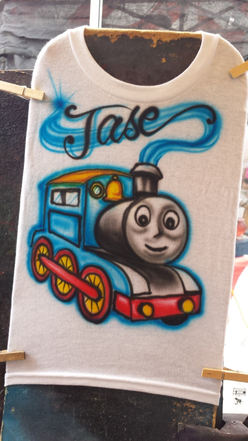 Custom airbrush train t shirt freehand not a stencil for Custom made airbrushed shirts