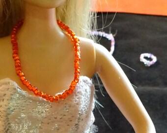 Tangerine Beaded Barbie Necklace (DA3)
