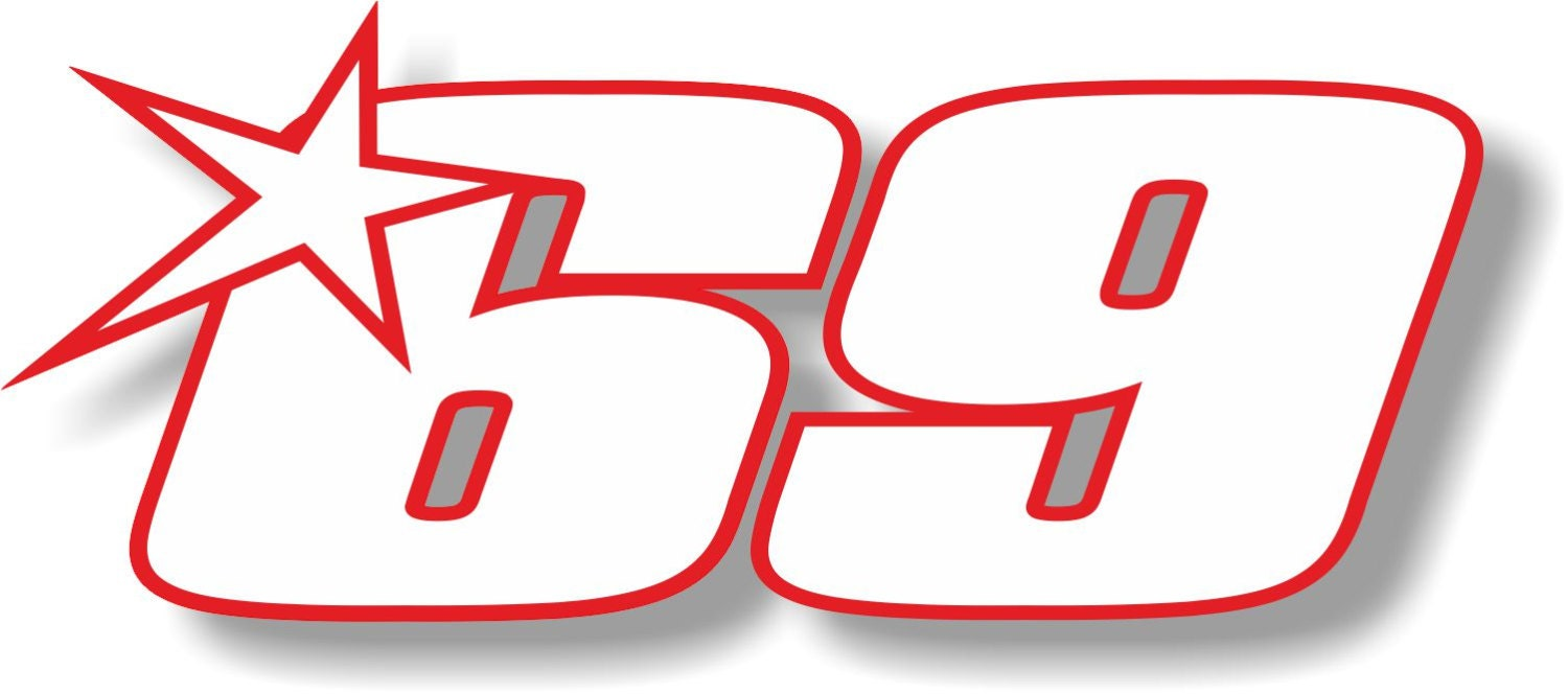 Vinyl Sticker Decal Riders Race Number Hayden 69 Small Or