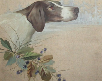 Antique oil painting dog