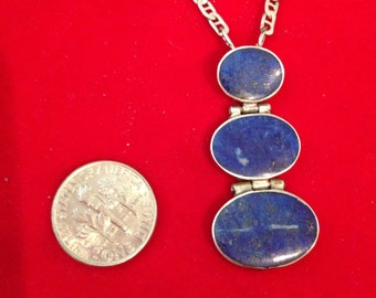 Vintage Blue Lapis Lazule Pendant Necklace