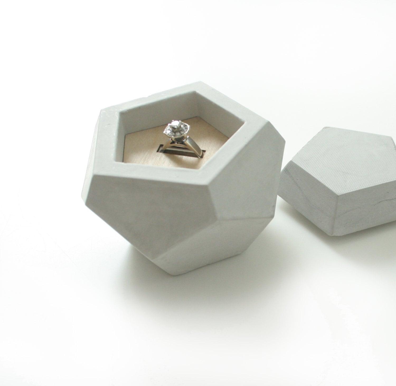 Geometric concrete ring dish with lid concrete engagement for Unique ring boxes