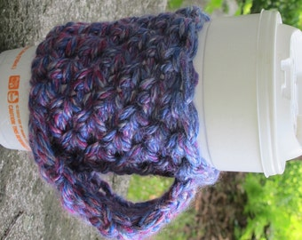 Multi Colored Crochet Chunky Cup Cozy with Handle Ready to Ship
