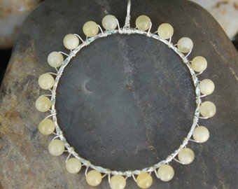 Citrine Sterling Silver Wire Wrapped Circle Pendant