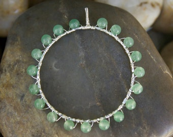 Green Aventurine Sterling Silver Wire Wrapped Circle Pendant