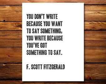 F. Scott Fitzgerald Print