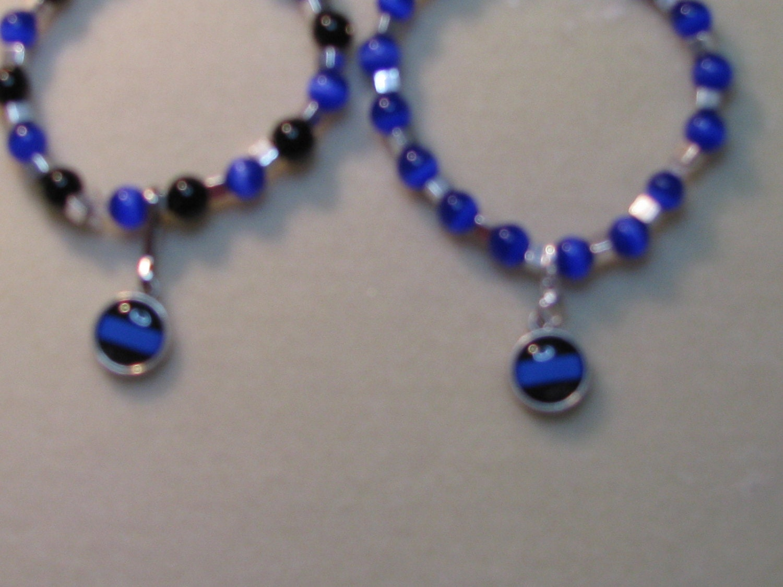 thin blue line police bracelet. Black Bedroom Furniture Sets. Home Design Ideas