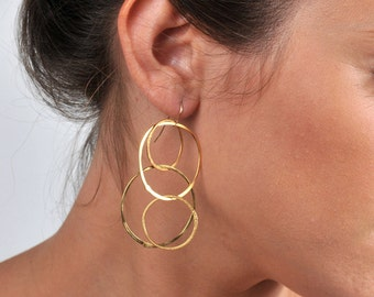 Gold Circle Earrings - Large Hoop earrings - Gold plated Dangle earring - Minimalist earrings